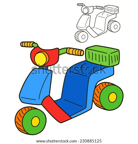 scooter coloring book page