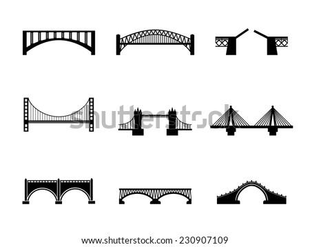 set of nine vector bridge icons