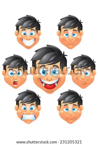 boy character  face expressions