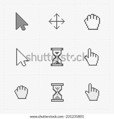 pixel cursors icons on white
