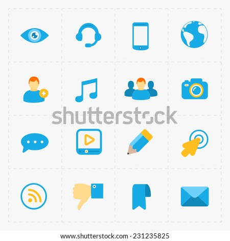 modern flat social icons set on