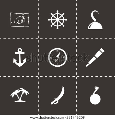 vector pirate icon set on black