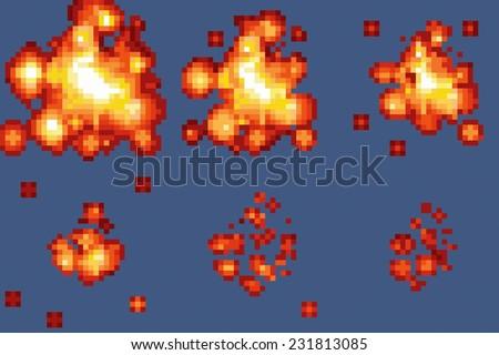 8 bit pixel art explosion