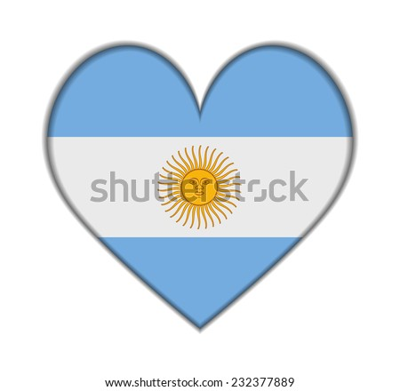 argentina heart flag vector