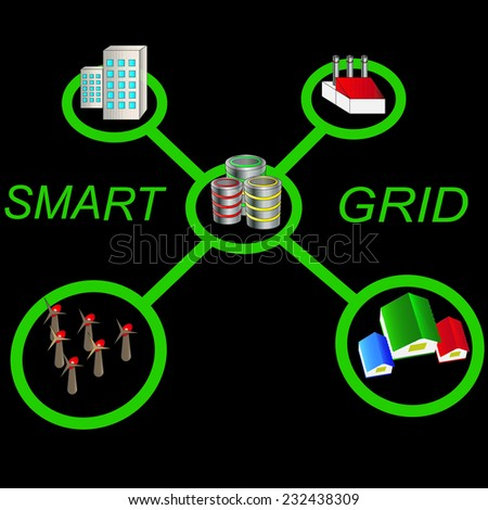 smart grid concepts on black