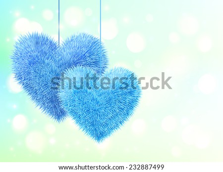 blue fluffy hearts pair vector