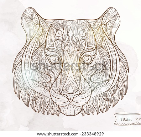 patterned head of the tiger on