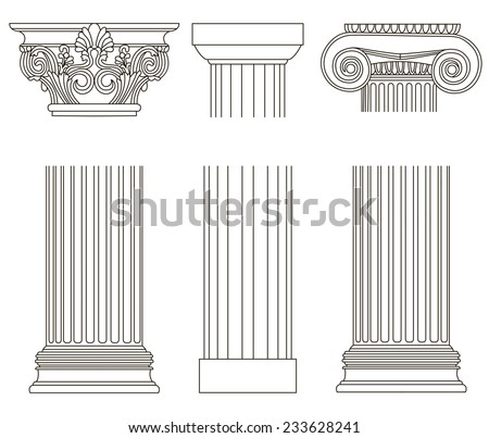 set of old style greece column