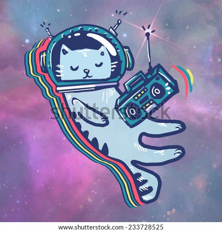 cat in space astronaut flying
