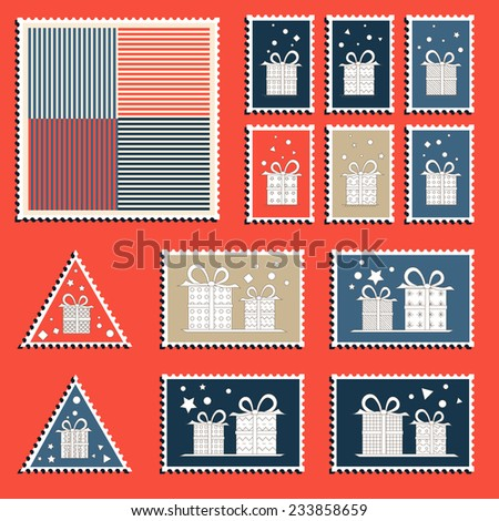 large set of colorful christmas