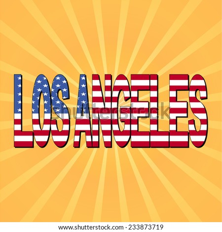 los angeles flag text with