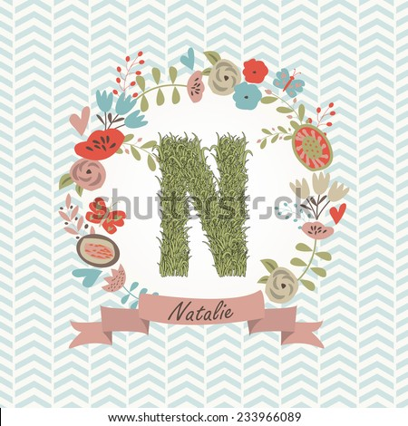 grass letter n in floral frame