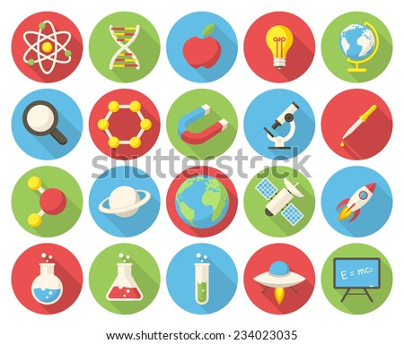 science  modern flat icons with