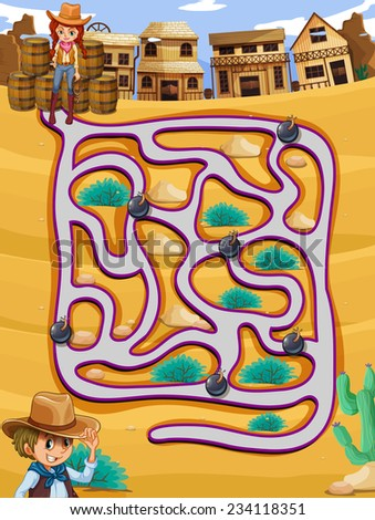 a cowgirl following a maze with
