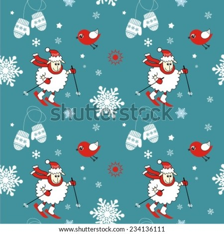winter vector seamless pattern
