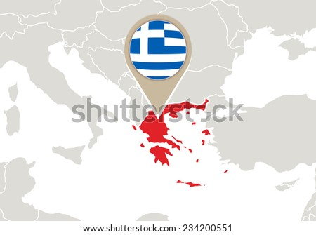europe with highlighted greece