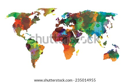 world map water color eps 10