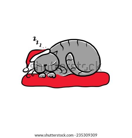 santa cat sleeping  sketch for