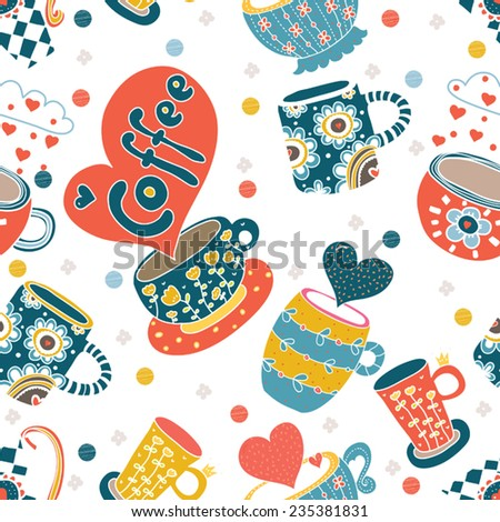 cute cups vector seamless