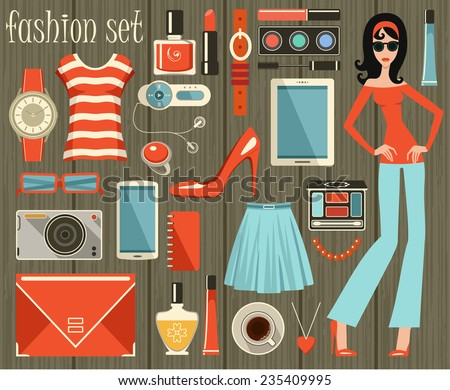 fashion set in a style flat