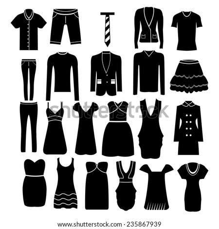 clothing black and white