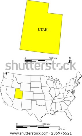 utah map with the scale