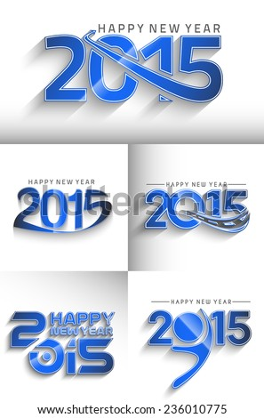 new year 2015 text design set