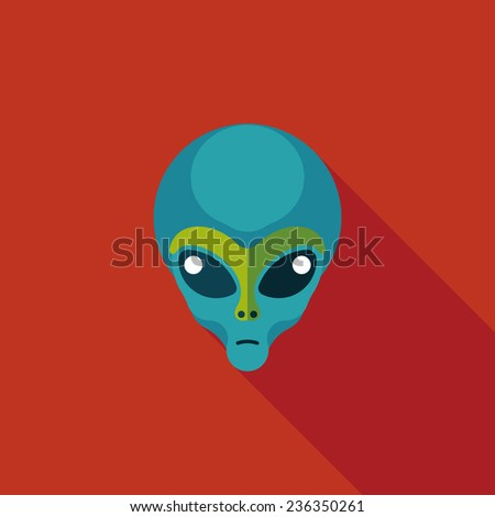 space alien flat icon with long