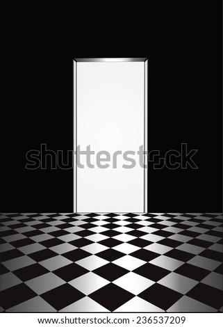 open door in a room with