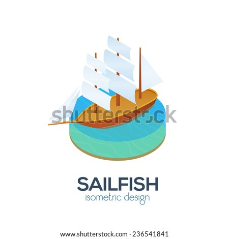 vector isometric sailboat icon