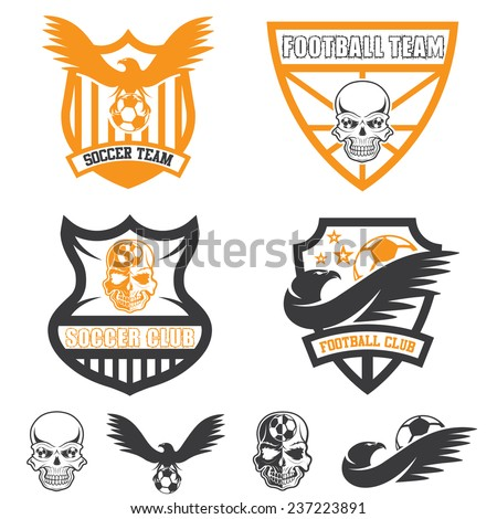 football team crests set with