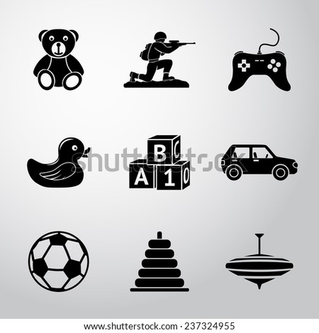 toys icons set with   car  duck