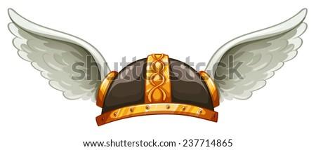 a viking's headgear on a white