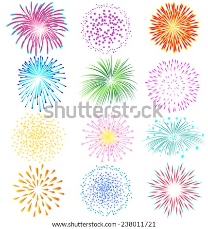 fireworks vector set on white