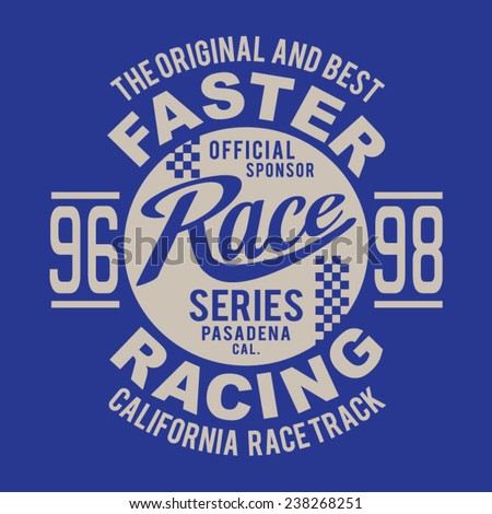racing california typography  t