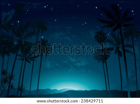palm trees on a night sky and