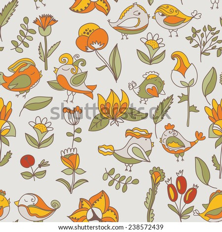 flower and bird seamless