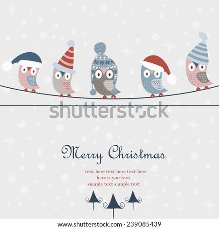 christmas card with cute owls
