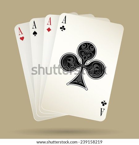 four aces playing cards suit on