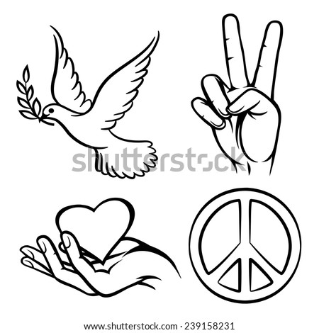 peace symbols two thumbs up