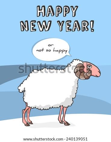 angry white sheep new year
