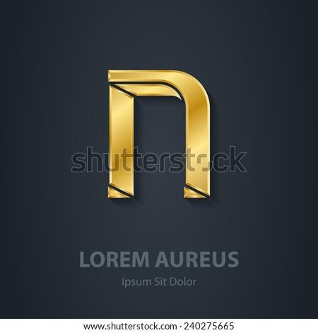 letter n vector elegant gold