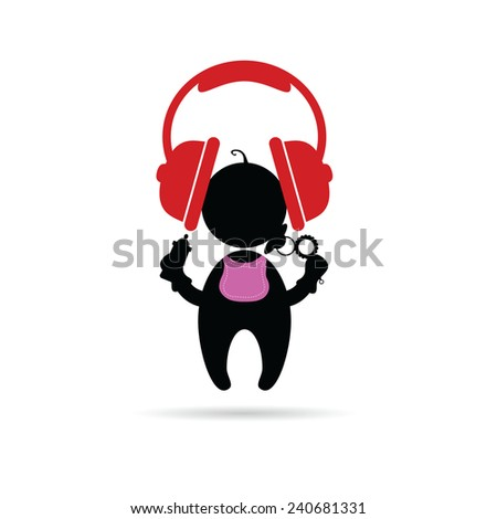 headphones with baby vector