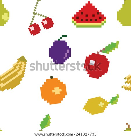 vector pixel art fruit seamless