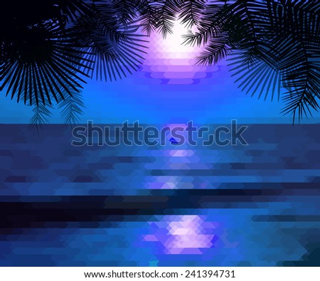 blue sea and palm trees