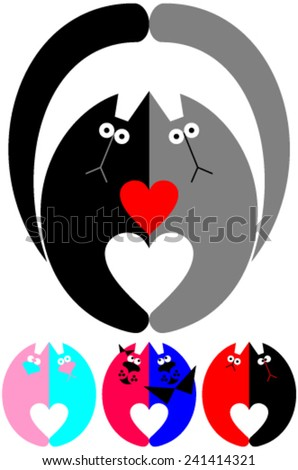 cat cats   love heart vector