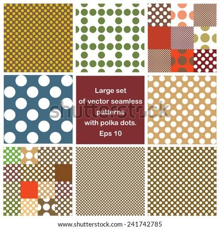 vector set polka dots seamless