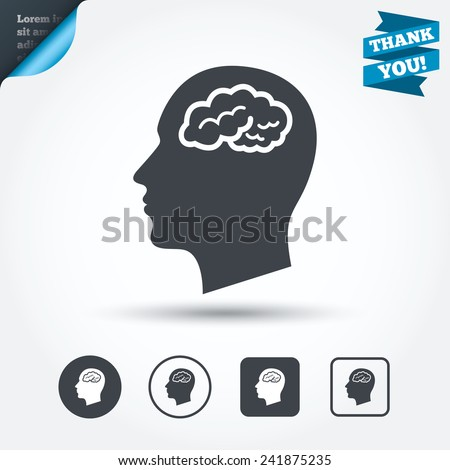 head with brain sign icon male