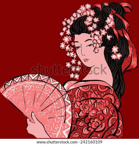 geisha japanese womanabstract
