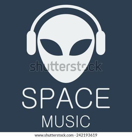 vector alien in headphones on